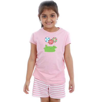Pink Half sleeve Girls Pyjama -  Candy Sticks
